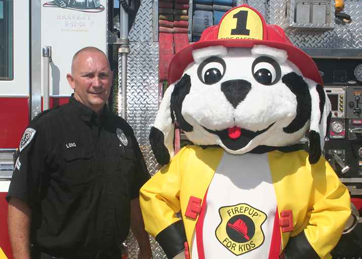 Firepup® Mascot with Firefighter